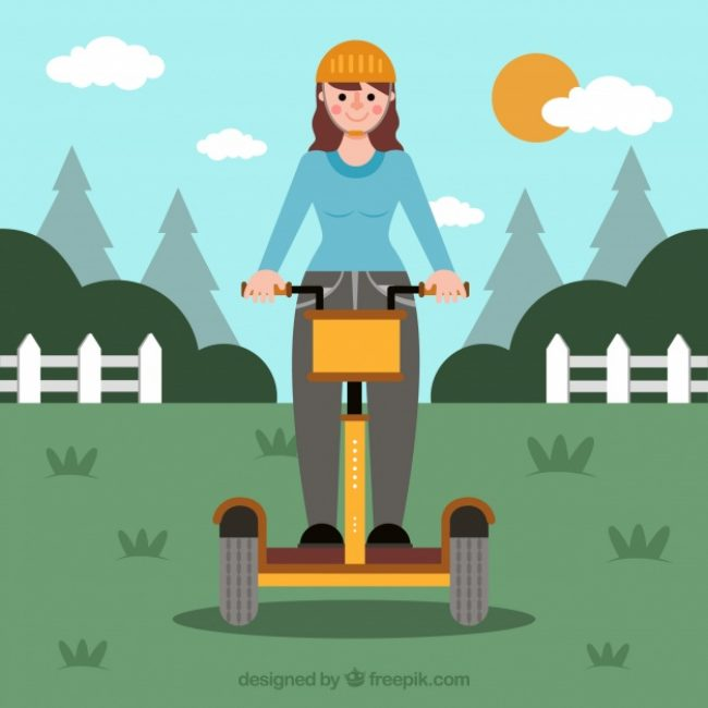 Free vector Electric bike concept with girl in countryside #24438