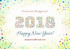 Free vector Watercolor new year 2018 background with circles #24435