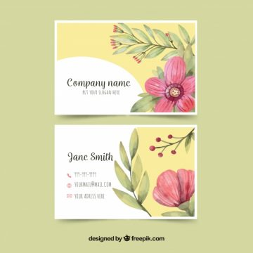 Free vector Yellow business card with pink flower #24447