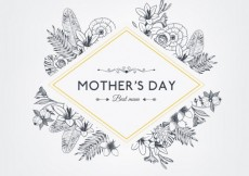 Free vector Floral mothers day badge in retro style #1