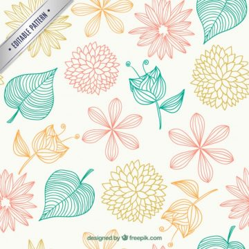 Free vector Floral pattern in sketchy style #6