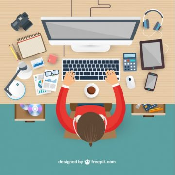 Free vector Workplace in top view #2