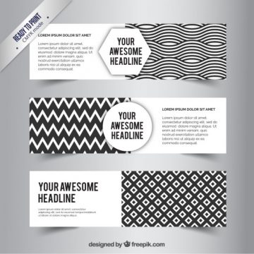Free vector Abstract black and white banners #220