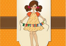 Free vector Birthday card with beautiful girl #3896