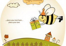 Free vector Birthday card with funny bee #3929