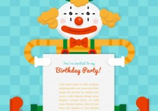Free vector Birthday party card with a clown #3399