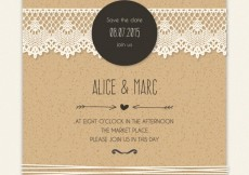 Free vector Cardboard wedding invitation with lacy decoration #886