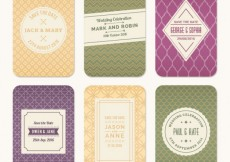 Free vector Collection of retro wedding cards #993