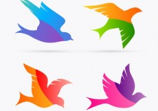 Free vector Colorful bird silhouettes #1240