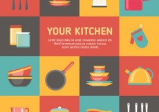 Free vector Colorful kitchen elements #2634