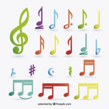 Free vector Colorful music notes #2455