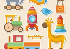 Free vector Colorful toys collection #2676