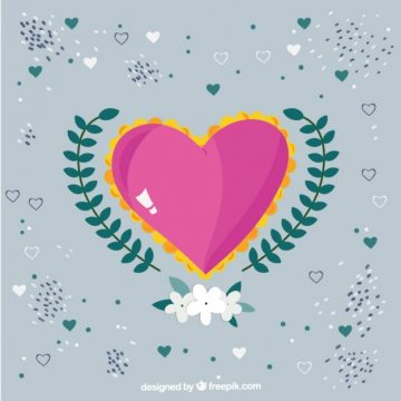 Free vector Cute heart with floral decoration #816