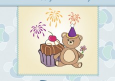 Free vector Cute teddy bear birthday card #3857