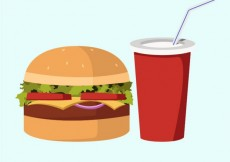 Free vector Delicious hamburger and soft drink #982