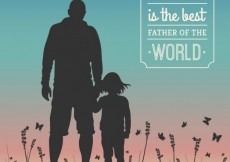 Free vector Fathers day card with human silhouettes #2740