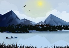 Free vector Fisherman on Lake Winter #3902