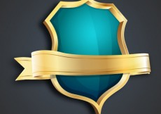 Free vector Golden and turquoise shield #3734