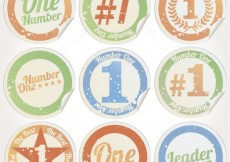 Free vector Grungy number one stickers #2424