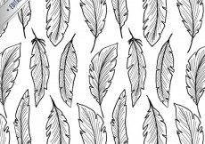 Free vector Hand drawn feathers pattern #783