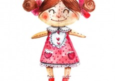 Free vector Hand painted doll #2841