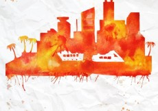 Free vector Hand painted Miami skyline #2663
