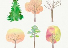 Free vector Hand painted trees #1163
