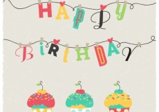 Free vector Happy birthday card with cupcakes #3017