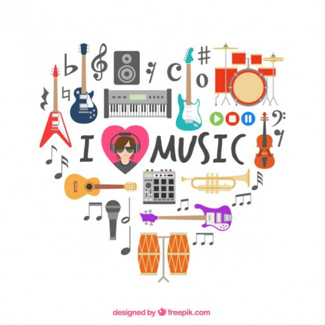Free vector Heart made of musical icons #1582