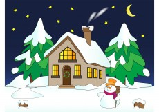 Free vector House with Snow Vector #3888