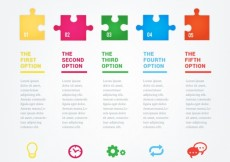 Free vector infographic with colorful puzzle pieces #755