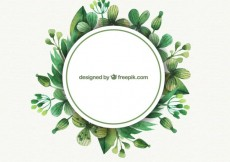 Free vector Labels with watercolor leaves #3814