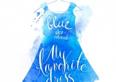 Free vector Lettering in blue watercolor dress #927