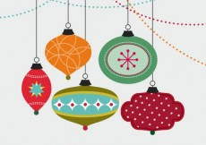 Free vector Merry christmas card with baubles #2771