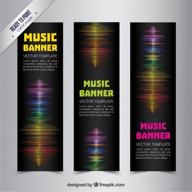 Free vector Music banners with sound waves #328