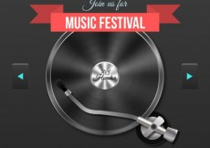 Free vector Music festival poster with a record player #3744