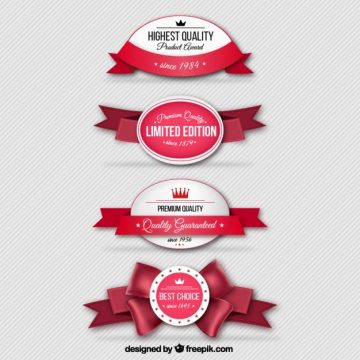 Free vector Retro badges with red ribbons #1105