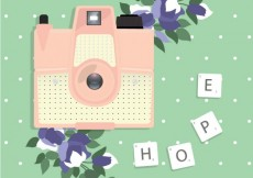 Free vector Retro camera with flowers #819