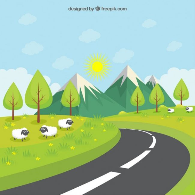 Free vector Road throught the green meadow #1809