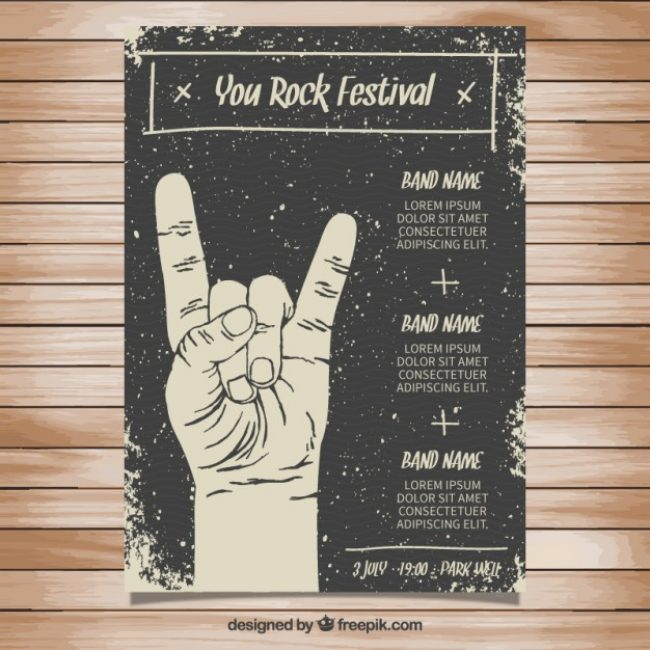 Free vector Rock festival poster in grungy style #337
