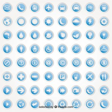 Free vector Round stickers with icons #2375