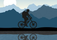 Free vector Silhouette of a man riding a bike #2989