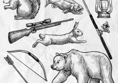 Free vector Sketchy forest animals and hunting weapons #960