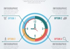 Free vector Timeline infographic with a clock #591