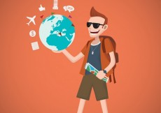 Free vector Traveler illustration with a world map #3101