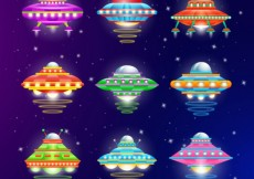 Free vector Variety of colorful ufo #717