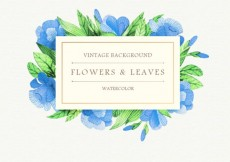 Free vector Watercolor blue flowers and leaves background #3855