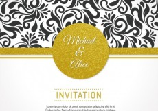 Free vector Wedding invitation with floral ornaments #4