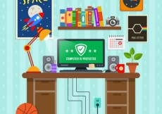 Free vector Workplace with protected computer #2785