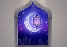 Free vector Arabic window with crescent moon #7235
